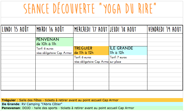Rendez vous -2-Aout Yoga du Rire Corinne Vermillard sophrologue Ile Grande cote de Granit rose