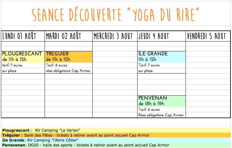 Rendez vous -3-Aout Yoga du Rire Corinne Vermillard sophrologue Ile Grande cote de Granit rose
