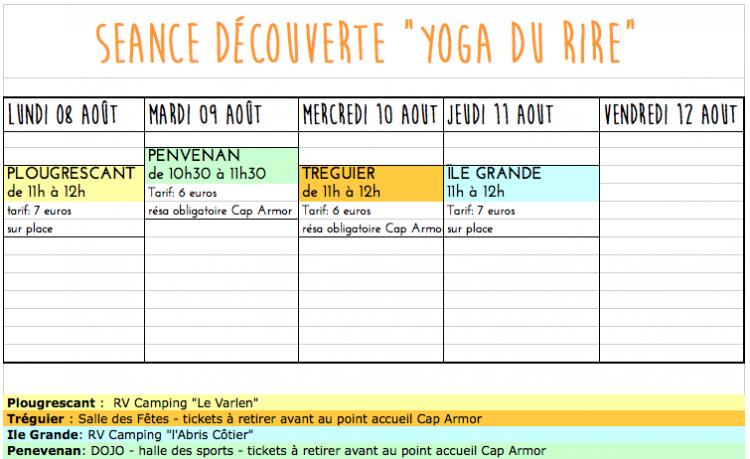 Rendez vous Aout Yoga du Rire Corinne Vermillard sophrologue Ile Grande cote de Granit rose