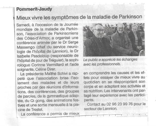 Ouest France article Parkinson 22 - Corinne Vermillard Sophrologue La Roche Derrien - Pasdeloup hopital treguier - Massengo Neurologue Lannion-presidente Maithe Schivi-